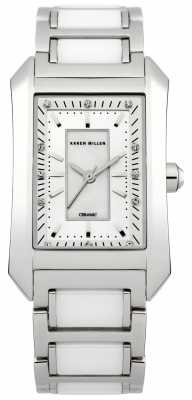 Karen Millen Womens' White Ceramic & Steel Silver Dial Crystal Set Watch KM119SM