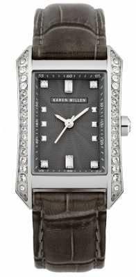 Karen Millen Womens' Stainless Steel Black Dial Brown Leather Strap Watch KM111B