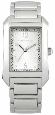 Karen Millen Womens' Stainless Steel Silver Dial Crystal Set Watch KM104SM