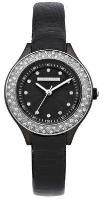 Karen Millen Womens' Black Crystal Set Bezel Leather Strap Watch KM108B