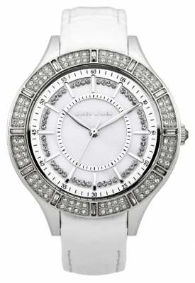 Karen Millen Womens' Stainless Steel White Dial Crystal Set Leather Watch KM102W