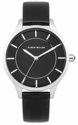 Karen Millen Womens' Black Ion Plated Steel Leather Strap Watch KM133B