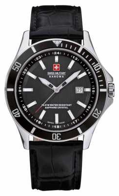 Swiss Military Hanowa Mens Flagship Black Dial Black Leather Watch 6-4161.2.04.007