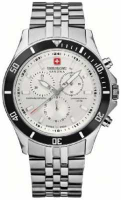Swiss Military Hanowa Mens Flagship Stainless-Steel Black Bezel Chronograph 6-5183.7.04.001.07