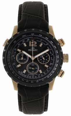 Rotary Mens Black & Gold Leather Strap Chronograph GSI00121/04