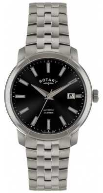 Rotary Mens Stainless Steel Black Dial Watch GB02810/04