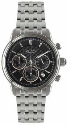 Rotary Mens Stainless Steel Black Dial Chronograph GB02876/04