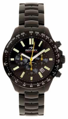 Rotary Mens Aquaspeed Black Ion Plated Multi Dial Watch AGB00085/C/04