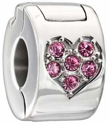 Chamilia Sterling Silver w Stone - Jeweled Heart Lock - Light Pink Swarovski 1430-0009