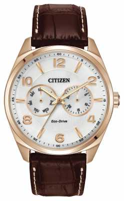 Citizen Mens Rose Gold Champagne Dial Brown Leather Strap Watch AO9023-01A
