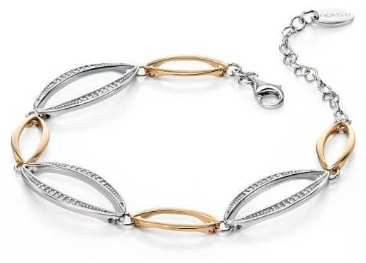 Fiorelli Silver And Gold Marquise Bracelet With Pave Cubic Zirconia B4389C