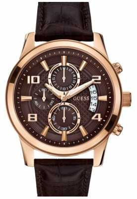 Guess Mens Exec Rose Gold & Brown Chronograph W0076G4