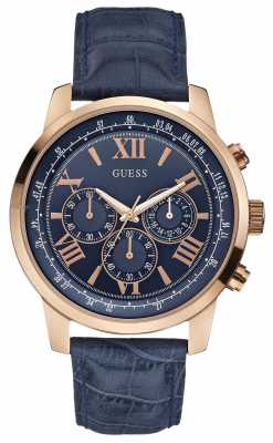 Guess Mens Horizon Rose Gold & Blue Chronograph W0380G5