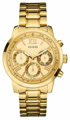 Guess Womens' Sunrise Gold Plate Watch W0330L1