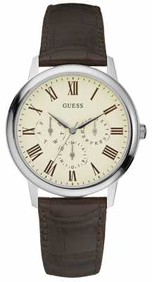 Guess Mens Wafer Stainless Steel Cream Dial Brown Leather Watch W70016G2