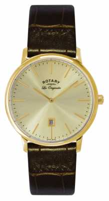 Rotary Mens Kensington Les Originales Gold Plate Gold Dial Watch GS90052/03