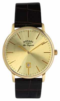 Rotary Mens Kensington Les Originales Gold Plate Gold Dial Watch GS90052/03