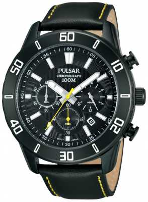 Pulsar Mens Black IP Steel Yellow Accent Leather Strap Watch PT3427X1