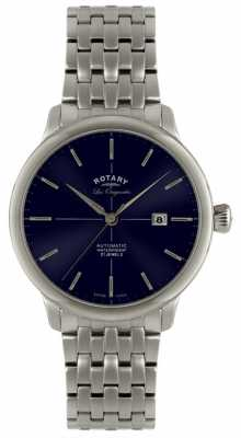 Rotary Mens Automatic Burlington Stainless Steel Blue Dial Watch GB90060/05