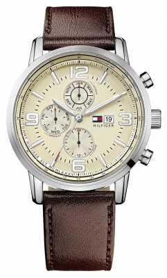 Tommy Hilfiger Mens Stainless Steel Cream Dial Brown Leather Strap Watch 1710337
