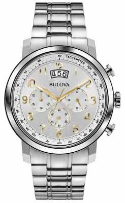 Bulova Mens Stainless Steel Gold Accent Classic Chronograph 96B201