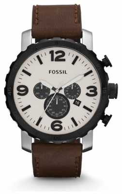Fossil Mens Nate Chronograph Brown Watch JR1390