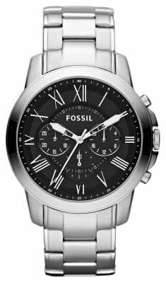 Fossil Mens Grant Black Silver Chronograph Watch FS4736