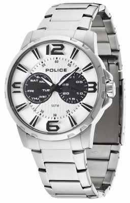 Police Mens Stainless Steel White Dial Visionary Watch 14100JS/01M