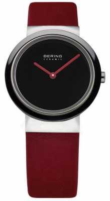 Bering Time Ladies Ceramic Red Calfskin Watch 10729-642