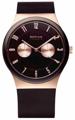 Bering Mens Ceramic Rose Gold & Black Watch 32139-265