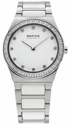 Bering Womens White Ceramic, Crystal Watch 32430-754
