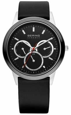 Bering Mens Black Ceramic & Stainless Steel Black Leather Strap Watch 33840-442