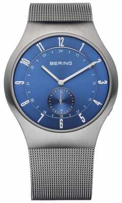Bering Mens Radio Controlled Stainless Steel Blue Dial Watch 51940-078-UK