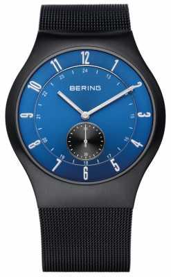Bering Mens Radio Controlled Black IP Steel Blue Dial Watch 51940-227-UK