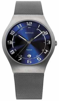 Bering Mens Titanium Blue Dial Mesh Strap Watch 11937-078