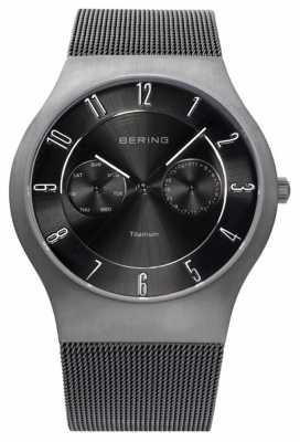 Bering Mens Titanium Black Dial Date Display Watch 11939-077
