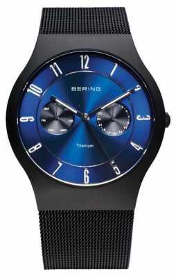 Bering Mens Titanium Black Blue Dial Watch 11939-078
