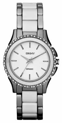 DKNY Womens Westside, White Ceramic, Steel Watch NY8818