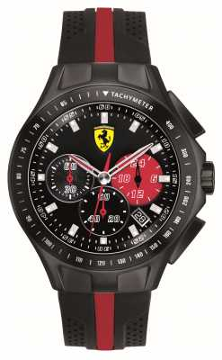 Scuderia Ferrari Mens Race Day Black IP Steel Red Detail Rubber Strap Watch 0830023