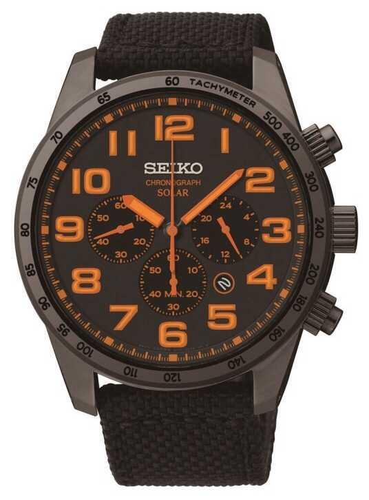 seiko mens black ip steel orange watch ssc233p9 seiko ssc233p9