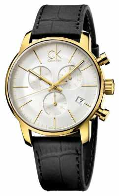 Calvin Klein Mens Gold Plate Silver Dial Black Leather Watch K2G275C6