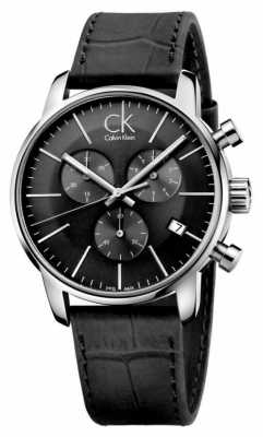 Calvin Klein Mens Black & Stainless Steel Leather Strap Watch K2G271C3