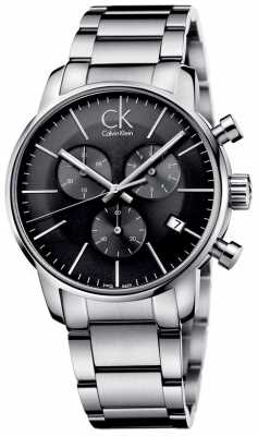 Calvin Klein Mens City Stainless Steel Black Dial Watch K2G27143