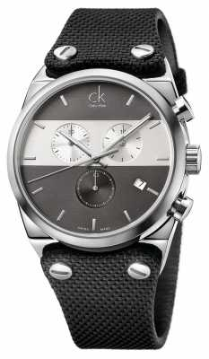 Calvin Klein Mens Eager Stainless Steel Canvas Strap Watch K4B371B3
