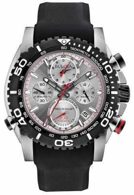 Bulova Mens Black/ Silver Rubber Strap Precisionist Chronograph 98B210