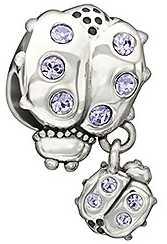 Chamilia Sterling Silver w Stone - Snuggle Bugs - Violet Swarovski 2025-1095