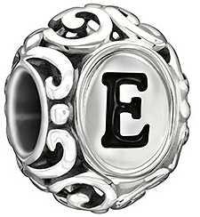 Chamilia Sterling Silver w Enamel - Initially Speaking E - Black Enamel 2020-0730