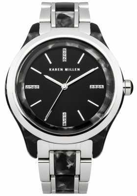 Karen Millen Womens Black Tortoise, Steel, Crystal Watch KM142BM