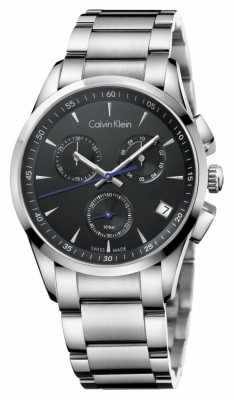 Calvin Klein Mens Stainless Steel Black Dial Chronograph K5A27141
