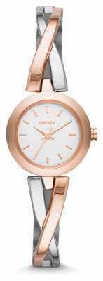 DKNY Ladies' Crosswalk Steel & Rose Bangle Watch NY2172